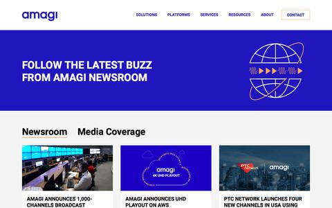 Screenshot of Press Page amagi.com - Newsroom | Amagi - captured Sept. 24, 2019