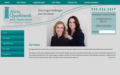 Screenshot of Home Page aqalegal.com - Alvis Quashnock and Associates | Your legal challenges just got easier. - captured Oct. 3, 2018