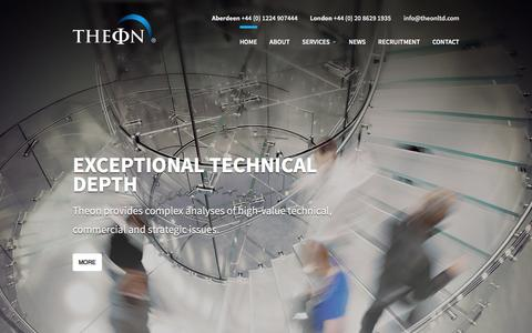 Screenshot of Home Page theonltd.com - Theon - Oil and Gas Front End Consultancy & Petroleum Engineering Consultants - captured Feb. 16, 2016
