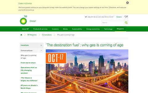 Screenshot of bp.com - 'The destination fuel': why gas is coming of age | Conversations | BP Magazine | BP - captured Oct. 20, 2017
