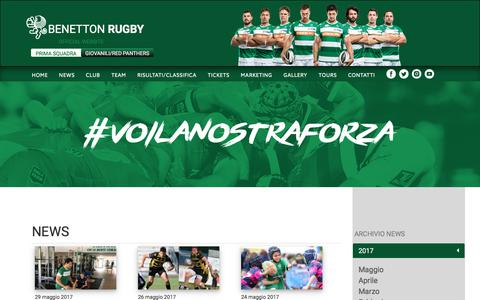 Screenshot of Press Page benettonrugby.it - News Archivi - Benetton Rugby - captured June 1, 2017