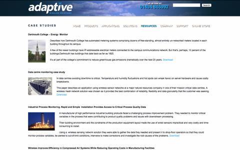 Screenshot of Case Studies Page adaptive-wireless.co.uk - wireless sensor network case studiesAdaptive Wireless - captured Oct. 4, 2014