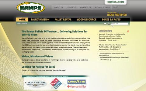 Screenshot of Home Page kampsinc.com - Kamps | Pallets For Sale MI, IN, OH, KY | Wholesale, Wood, Plastic - captured Oct. 6, 2014