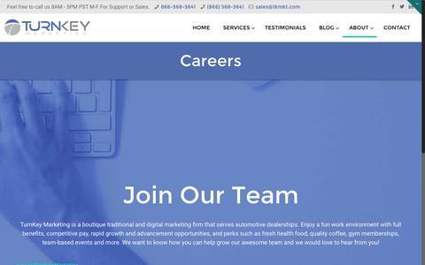 Screenshot of Jobs Page tkmkt.com - Digital Marketing Jobs Inland Empire | TurnKey Marketing - captured Dec. 2, 2016