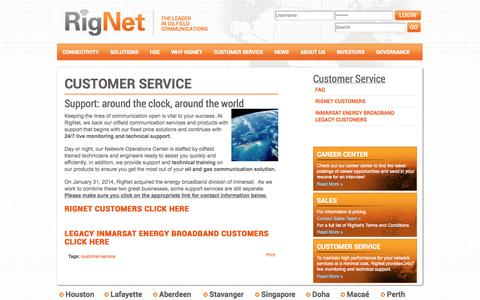 Screenshot of Support Page rig.net - Customer Service | Houston, Texas USA |  RigNet - captured Oct. 9, 2014