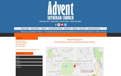 Screenshot of Contact Page Maps & Directions Page adventelc.org - Advent Lutheran Church | VISIT - captured April 23, 2017