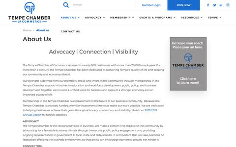 Screenshot of About Page tempechamber.org - About Us | Tempe Chamber of Commerce - captured Oct. 20, 2018