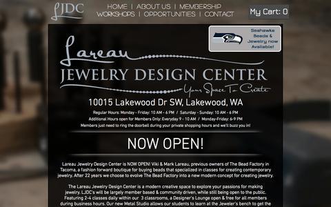 Screenshot of Home Page thebeadfactory.com - Lareau Jewelry Design Center - captured Oct. 7, 2014