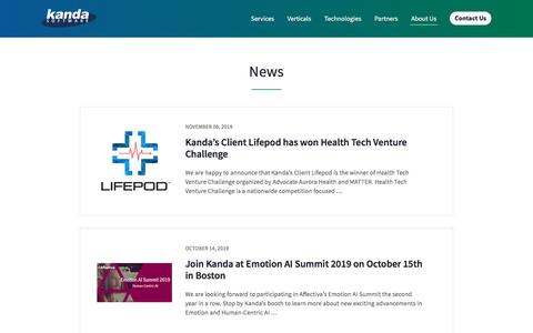 Screenshot of Press Page kandasoft.com - News | Kanda Software: Custom Software Development Services - captured Nov. 19, 2019
