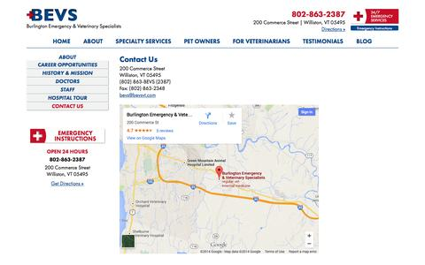Screenshot of Contact Page Maps & Directions Page bevsvt.com - Contact Us - Burlington Emergency & Veterinary Specialists - captured Oct. 23, 2014