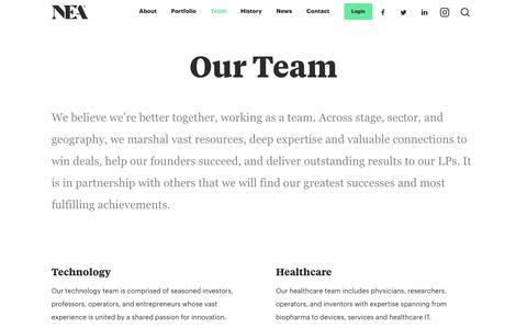 Screenshot of Team Page nea.com - Team | NEA | New Enterprise Associates - captured Aug. 26, 2019