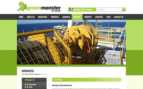 Screenshot of Services Page greenmonster.com.au - Services - Greenmonster Offshore - captured Oct. 3, 2014