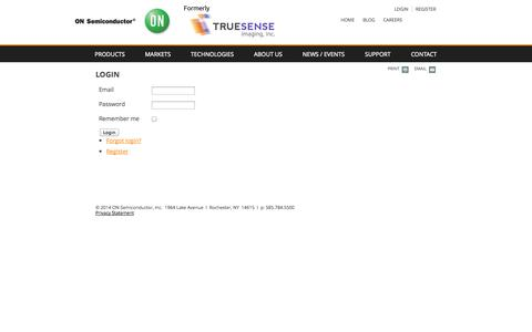 Screenshot of Login Page truesenseimaging.com - Login - captured Oct. 9, 2014