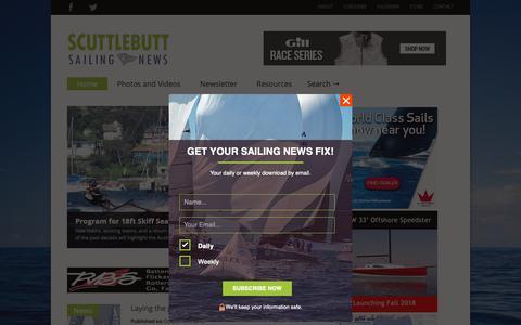 Screenshot of Home Page sailingscuttlebutt.com - Scuttlebutt Sailing News - captured Oct. 9, 2018