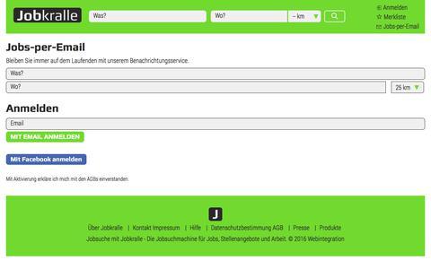 Screenshot of Signup Page jobkralle.ch - Jobs - Stellenangebote - Arbeit - Jobsuche in der Schweiz - Jobkralle - captured June 24, 2017