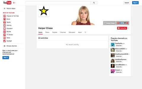 Screenshot of YouTube Page youtube.com - Harper Chase  - YouTube - captured Oct. 30, 2014