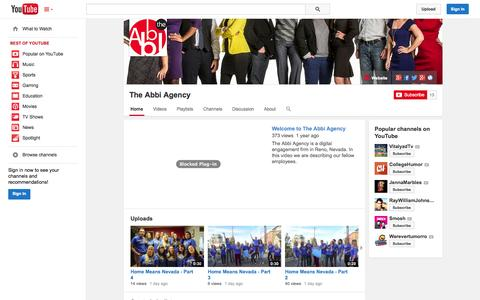 Screenshot of YouTube Page youtube.com - The Abbi Agency  - YouTube - captured Oct. 29, 2014