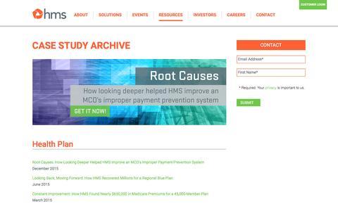 Screenshot of Case Studies Page hms.com - Case Study Archive - HMS.com - captured March 2, 2016