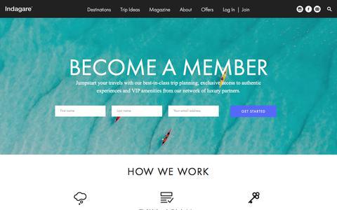 Screenshot of Signup Page indagare.com - Join - Indagare - captured April 10, 2018