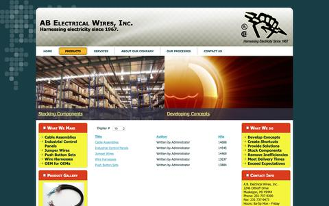 Screenshot of Products Page abelectricalwires.com - AbElectricalWires.com - Products - captured Sept. 30, 2018