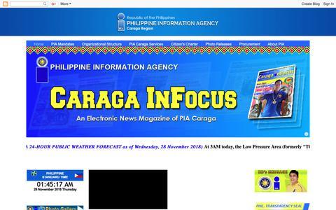 Screenshot of Home Page piacaraga.com - PIA - Caraga Regional Office - captured Nov. 28, 2018