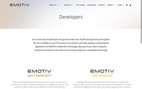 Screenshot of Developers Page emotiv.com - EMOTIV SDK and Apps for Developers and proprietary research - captured June 29, 2017