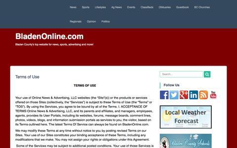 Screenshot of Terms Page bladenonline.com - Terms of Use | BladenOnline.com - captured Feb. 7, 2016