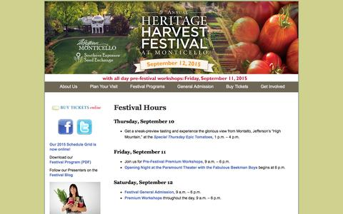 Screenshot of Hours Page heritageharvestfestival.com - Festival Hours | Heritage Harvest Festival at Monticello - captured Jan. 28, 2016