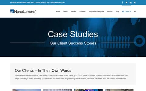 Screenshot of Case Studies Page nanolumens.com - Case Studies - NanoLumens - captured Feb. 13, 2019