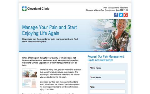 Screenshot of Landing Page clevelandclinic.org - Pain Management Information Guide Download | Cleveland Clinic - captured Sept. 19, 2018