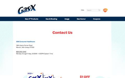 Screenshot of Contact Page gas-x.com - Contact Us | Gas-X Gas Relief - captured Nov. 20, 2017