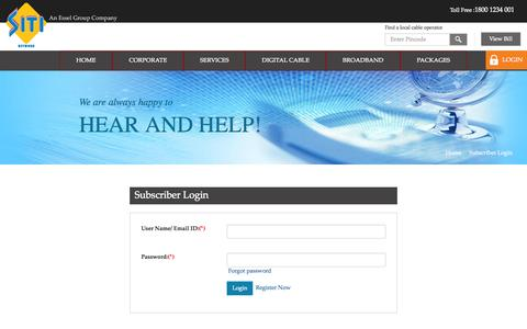 Screenshot of Login Page siticable.com - SITI Cable - Subscriber Login - captured Oct. 26, 2014