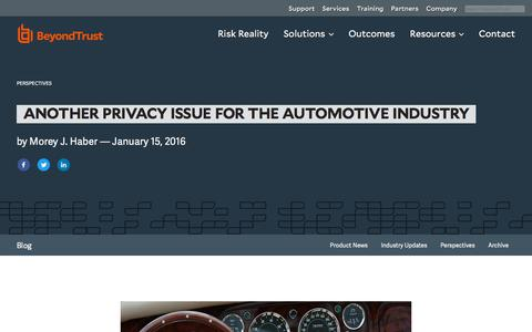 Screenshot of Privacy Page beyondtrust.com - Another Privacy Issue for the Automotive Industry | BeyondTrust - captured Dec. 14, 2019