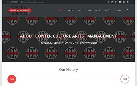 Screenshot of About Page counterculturemgmt.com - About - Counter Culture Artist Management - captured Oct. 3, 2014