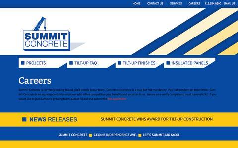 Screenshot of Jobs Page summitconcrete.biz - Careers   Summit Concrete in Lee's Summit - captured Oct. 29, 2014