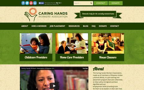 Screenshot of About Page caringhandsbayarea.org - Caring Hands | Worker's Association - captured Oct. 2, 2014
