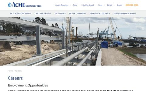Screenshot of Jobs Page acmecryo.com - Careers - Acme Cryogenics - captured April 27, 2018