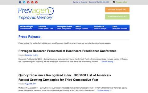 Screenshot of Press Page prevagen.com - Press Release Archives - Prevagen - captured Sept. 22, 2014