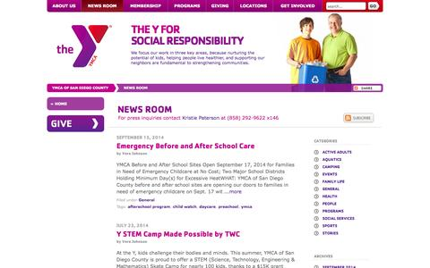Screenshot of Press Page ymca.org - YMCA of San Diego County   News Room - captured Sept. 24, 2014