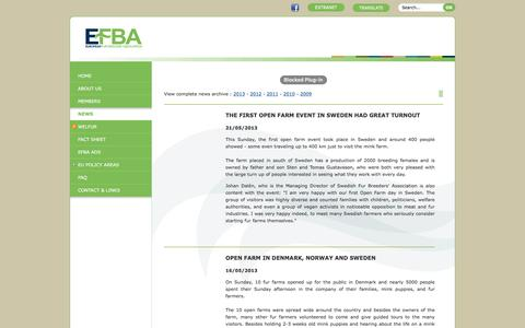 Screenshot of Press Page efba.eu - EFBA : the European Fur Breeder's Association - News - captured Jan. 31, 2016