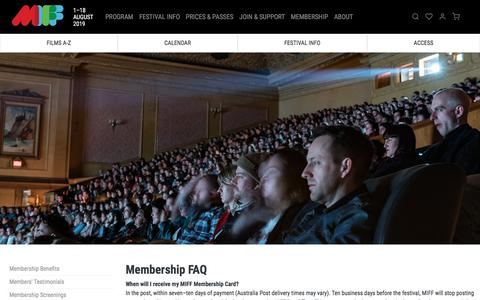 Screenshot of FAQ Page miff.com.au - Membership FAQ | MIFF 2019 - captured July 12, 2019