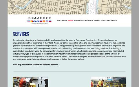 Screenshot of Services Page commerceconstruction.com - Overview — Commerce Construction - captured Aug. 18, 2017