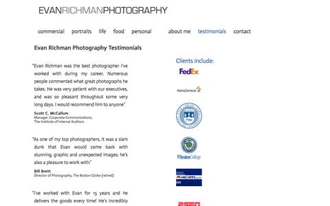 Screenshot of Testimonials Page evanrichman.com - Evan Richman Photography Testimonials   Evan Richman Photography - captured Jan. 31, 2016