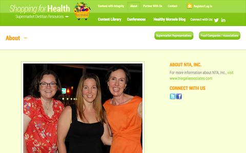 Screenshot of About Page shoppingforhealth.org - Shopping for Health, Dietician Resources - captured Oct. 26, 2014