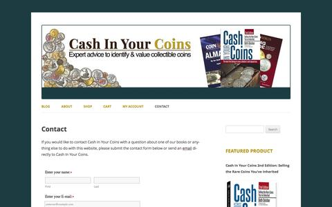 Screenshot of Privacy Page Contact Page Terms Page cashinyourcoins-book.com - Contact Cash In Your Coins - captured Oct. 26, 2016