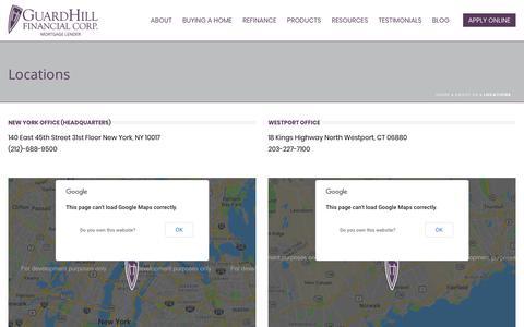 Screenshot of Locations Page guardhill.com - Locations - Guardhill Financial Corp. - captured Sept. 30, 2018