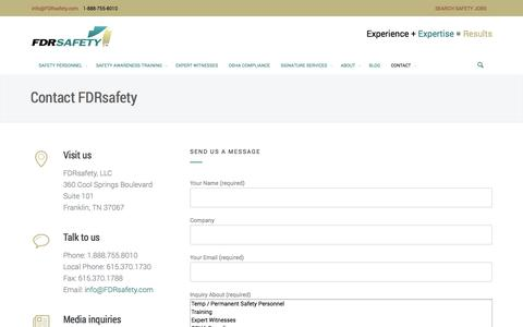 Screenshot of Contact Page fdrsafety.com - Contact Safety Consulting Company l FDRsafety | FDRsafety - captured Oct. 5, 2014