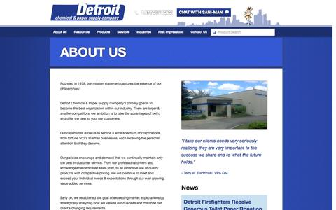Screenshot of About Page detroitchemical.com - About Us | Detroit Chemical - captured Oct. 5, 2014