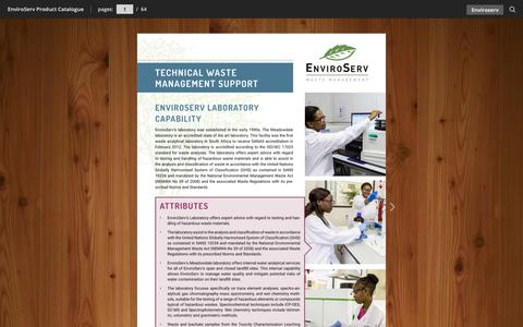 Screenshot of Case Studies Page enviroserv.co.za - EnviroServ Product Catalogue - captured Sept. 28, 2018
