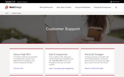 Screenshot of Support Page xcelenergy.com - Customer Support | Xcel Energy - captured Dec. 15, 2016